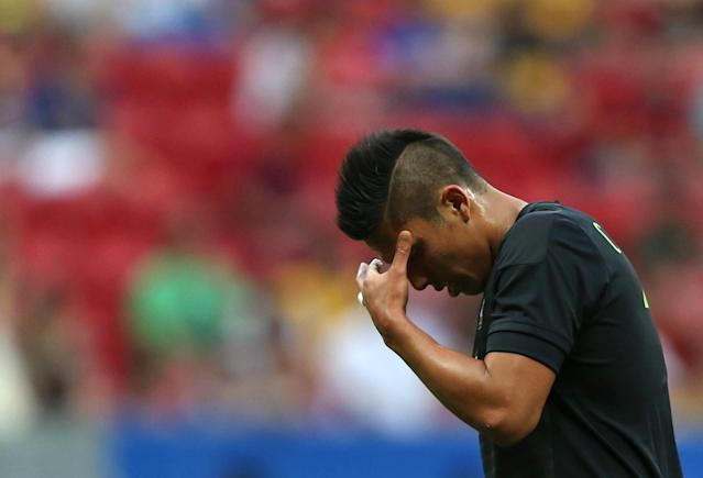 2016 Rio Olympics - Soccer - Preliminary - Men's First Round - Group C South Korea v Mexico - Mane Garrincha Stadium - Brasilia, Brazil - 10/08/2016. Carlos Salcedo (MEX) of Mexico reacts after losing to South Korea. REUTERS/Ueslei Marcelino FOR EDITORIAL USE ONLY. NOT FOR SALE FOR MARKETING OR ADVERTISING CAMPAIGNS.
