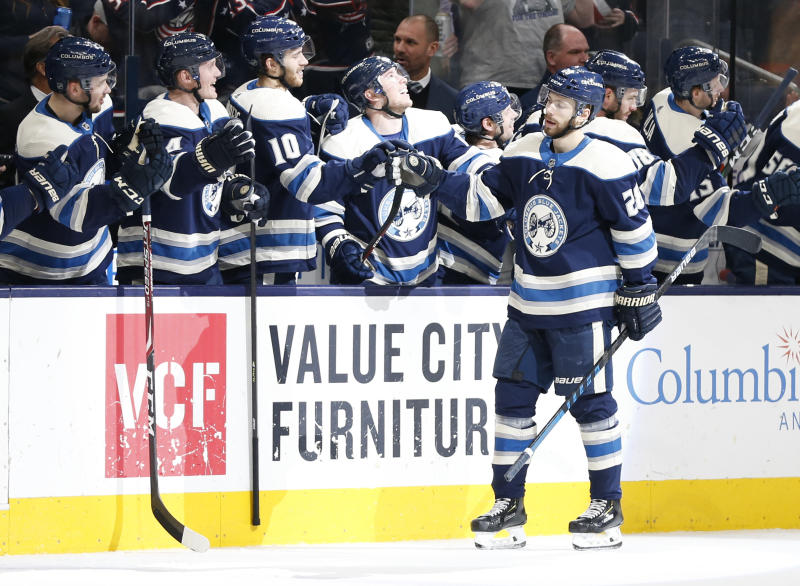 Columbus Blue Jackets' Oliver Bjorkstrand, of Denmark, celebrates his goal against the Winnipeg Jets during the third period of an NHL hockey game Wednesday, Jan. 22, 2020, in Columbus, Ohio. The Blue Jackets beat the Jets 4-3. (AP Photo/Jay LaPrete)
