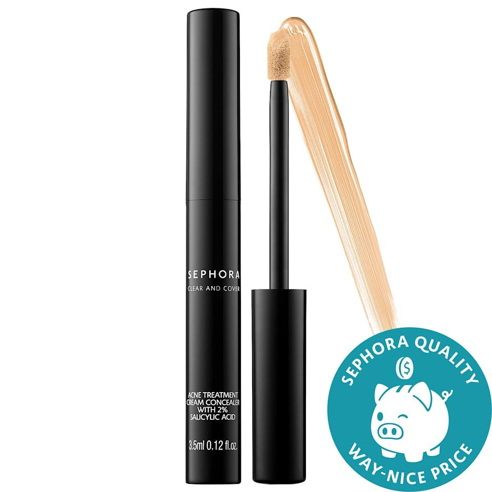 """<p><strong>Item:</strong> <span>Sephora Collection Clear and Cover Acne Treatment Cream Concealer With 2% Salicylic Acid</span> ($14)</p> <p><strong>What our editor said:</strong> """"I find a lot of concealers always made my breakouts look cakey and more noticeable. I tried this Sephora Collection Clear and Cover Acne Treatment Cream Concealer With 2% Salicylic Acid on a whim, not thinking it would be a game changer, and I was wrong. Not only does it cover a majority of my breakouts, but the acne-fighting formula helps them go away quicker, too."""" - KJ</p> <p>If you want to read more, here is <a href=""""https://www.popsugar.com/beauty/hormonal-acne-spot-treatments-editor-picks-47506723"""" class=""""link rapid-noclick-resp"""" rel=""""nofollow noopener"""" target=""""_blank"""" data-ylk=""""slk:the complete review"""">the complete review</a>.</p>"""