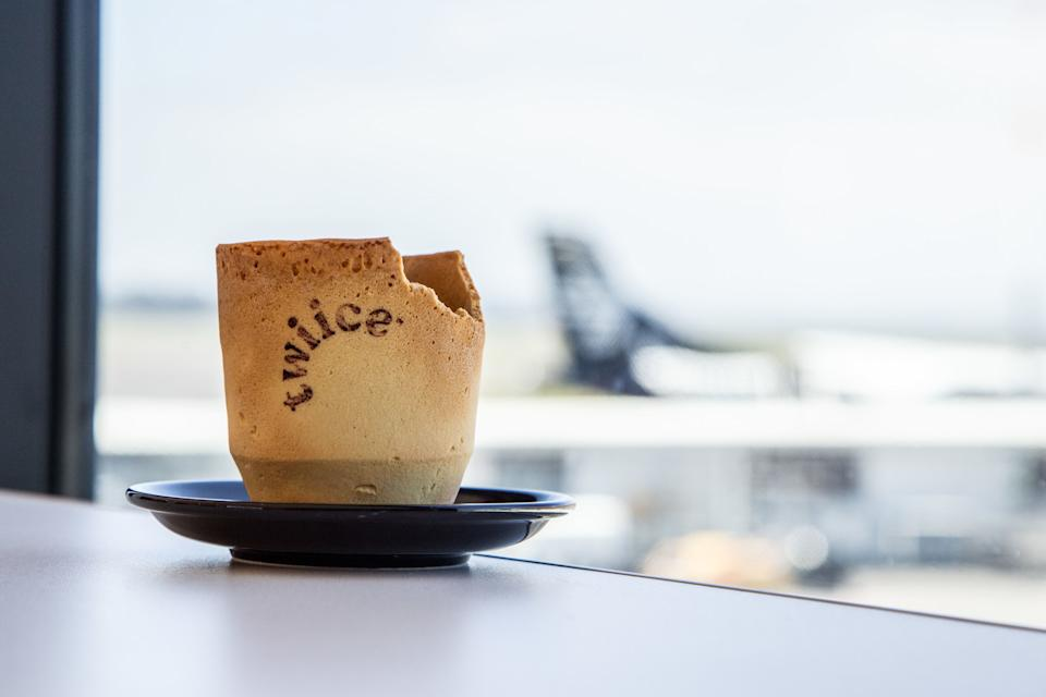 The edible, biscuit-based coffee cups  are being trialled on some Air New Zealnd flights as a step to combat waste. [Photo: PA]