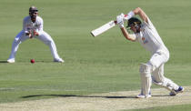 Australia's Marnus Labuschagne bats during play on the first day of the fourth cricket test between India and Australia at the Gabba, Brisbane, Australia, Friday, Jan. 15, 2021. (AP Photo/Tertius Pickard)