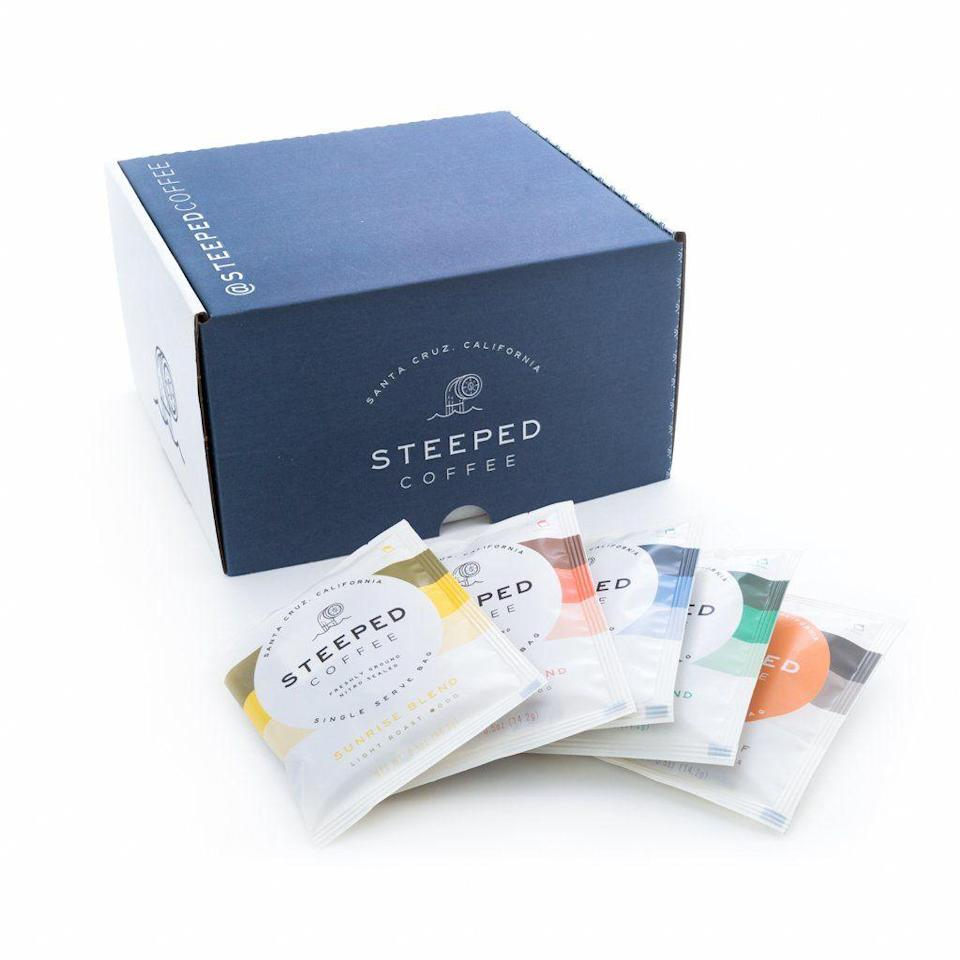 """<p><strong>Steeped Coffee</strong></p><p>steepedcoffee.com</p><p><strong>$30.00</strong></p><p><a href=""""https://steepedcoffee.com/products/one-month-steeped-coffee-supply-30-packs"""" rel=""""nofollow noopener"""" target=""""_blank"""" data-ylk=""""slk:Shop Now"""" class=""""link rapid-noclick-resp"""">Shop Now</a></p><p>Steeped's subscription box might be the closest thing to a pod-style coffee maker without actually having to buy a standalone appliance. Rather, treat Steeped's myriad of blends, flavors, and varieties just like you would your favorite tea — add hot water. For coffee lovers who love a robust, dark roast, Steeped offers an Odyssey Blend subscription just for you (at $1 per mug, no less!).</p>"""