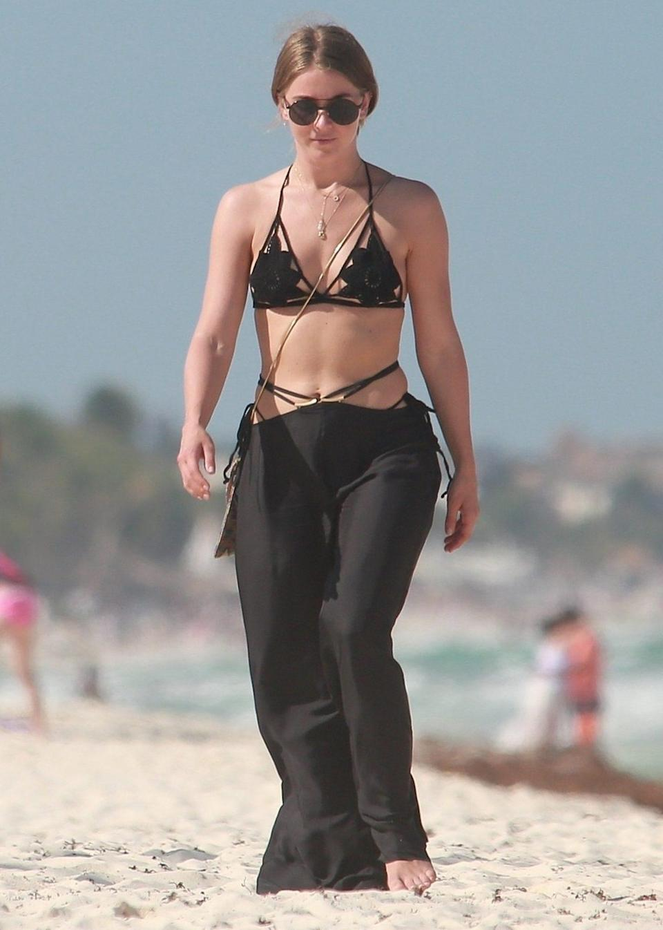 <p>Julianne Hough is in vacation mode on the beach in Tulum, Mexico, on Monday, in head-to-toe Cult Gaia.</p>