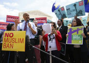 """<p>Rep. Cory Booker, N.J., speaks during the """"We Will Not Be Banned"""" protest sponsored by Muslim Advocates in front of the Supreme Court on Capitol Hill in in Washington, Tuesday, June 26, 2018. (Photo: Carolyn Kaster/AP) </p>"""