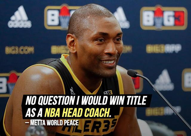 """Metta World Peace shared <a href=""""https://sports.yahoo.com/metta-world-peace-says-no-question-he-would-win-nba-title-as-coach-194558926.html"""" data-ylk=""""slk:his coaching expectations;outcm:mb_qualified_link;_E:mb_qualified_link"""" class=""""link rapid-noclick-resp yahoo-link"""">his coaching expectations</a> on Twitter."""