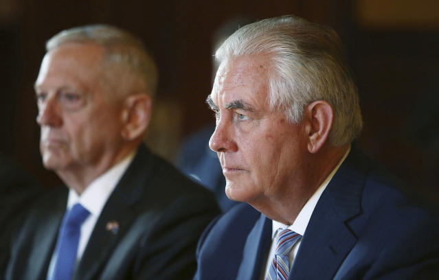 U.S. Secretary of State Rex Tillerson, right, and U.S. Secretary of Defense Jim Mattis. (Mark Metcalfe/Pool Photo via AP)