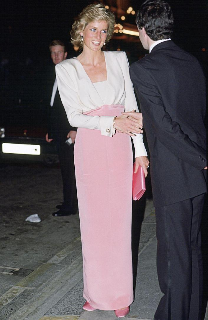 <p>Diana wore a pink and white dress by Catherine Walker to a ballet performance in London.</p>