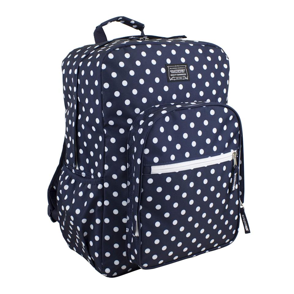 "<p>If they love polka dots, they'll love this <a href=""https://www.popsugar.com/buy/Eastsport-Student-Large-Backpack-Multiple-Compartments-493037?p_name=Eastsport%20Student%20Large%20Backpack%20with%20Multiple%20Compartments&retailer=walmart.com&pid=493037&price=15&evar1=moms%3Aus&evar9=46653602&evar98=https%3A%2F%2Fwww.popsugar.com%2Ffamily%2Fphoto-gallery%2F46653602%2Fimage%2F46653604%2FEastsport-Student-Large-Backpack-with-Multiple-Compartments&list1=shopping%2Cback%20to%20school%2Cwalmart%2Cbackpacks%2Cback%20to%20school%20shopping&prop13=api&pdata=1"" rel=""nofollow"" data-shoppable-link=""1"" target=""_blank"" class=""ga-track"" data-ga-category=""Related"" data-ga-label=""https://www.walmart.com/ip/Girl-Student-Large-Backpack-with-Multiple-Compartments/416735424"" data-ga-action=""In-Line Links"">Eastsport Student Large Backpack with Multiple Compartments</a> ($15).</p>"