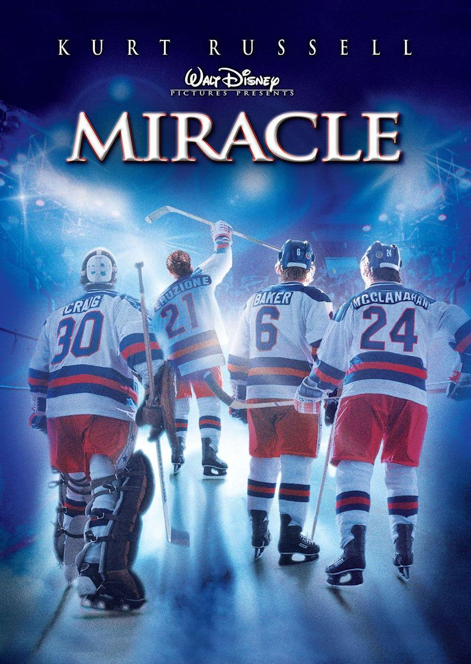 """<p>Everyone loves an inspirational sports movie, and this film is one of the best. <em>Miracle </em>is based on a true event from American history, in which a hockey coach brought together the 1980 US Olympic Team in hopes of being able to defeat the Soviets. <br><br><a class=""""link rapid-noclick-resp"""" href=""""https://www.amazon.com/Miracle-Kurt-Russell/dp/B003V5EDQ8/ref=sr_1_2?tag=syn-yahoo-20&ascsubtag=%5Bartid%7C10070.g.36156094%5Bsrc%7Cyahoo-us"""" rel=""""nofollow noopener"""" target=""""_blank"""" data-ylk=""""slk:STREAM NOW"""">STREAM NOW</a></p>"""