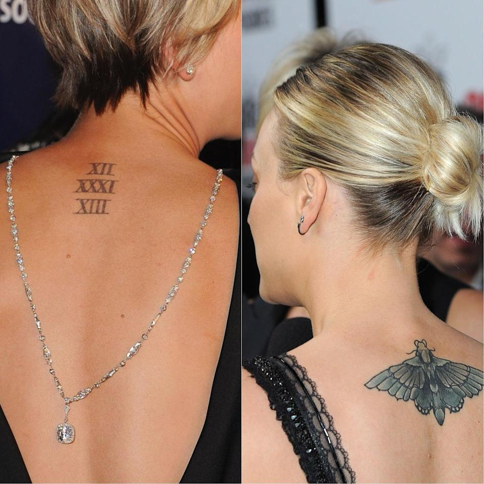 """<p>Kaley Cuoco took to Instagram to joke about the mistake she made after marking her body with the date of her wedding to ex Ryan Sweeting.<br><br>The actress wrote: """"Note to self – do not mark your body with any future wedding dates.""""<br><br>She then went on to explain the meaning behind her new tattoo of a moth on a recent social media post:<br><br>""""The deep, meaningful larger-than-life meaning behind this beautiful piece of ink is… it covered the last one."""" <em>[Photo: Getty]</em> </p>"""