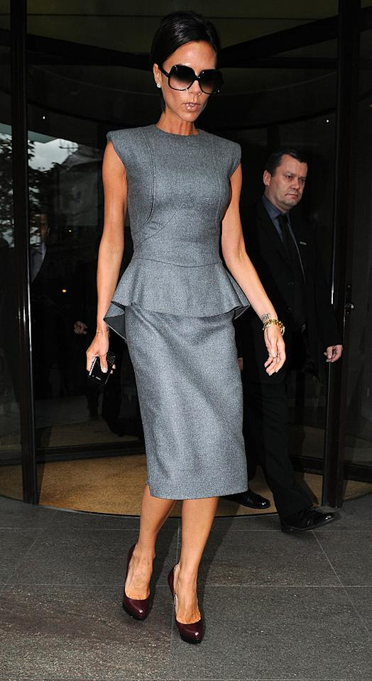 "Jenny's gal pal Victoria Beckham recently sashayed through London in a luxurious look from her fall 2009 collection, the $3,100 Carmontelle cashmere-blend dress. Gotcha Images/<a href=""http://www.splashnewsonline.com"" target=""new"">Splash News</a> - July 23, 2009"