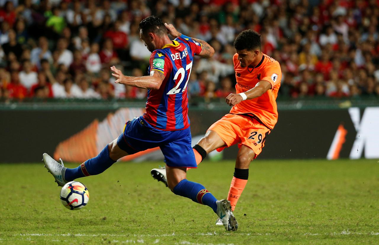 Soccer Football - Liverpool vs Crystal Palace - Premier League Asia Trophy - Hong Kong, China - July 19, 2017   Liverpool's Dominic Solanke scores their first goal   REUTERS/Bobby Yip