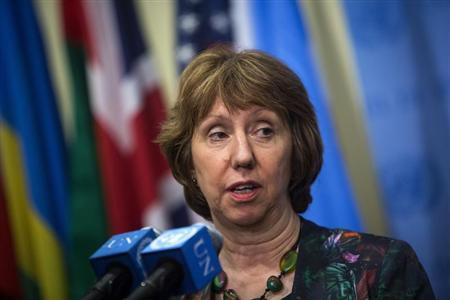 European Union High Representative Catherine Ashton speaks to the media after a meeting at the U.N. Headquarters in New York