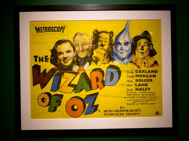 """In this Tuesday, Oct. 8, 2013 photo, a poster from the movie, """"The Wizard of Oz"""" is displayed at the Farnsworth Museum, in Rockland, Maine. The world's largest collection of materials from the movie is being exhibited a few months after the release of a prequel to the original film and the release of the original movie in I-Max format. (AP Photo/Robert F. Bukaty)"""