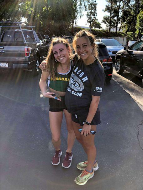 PHOTO: Makenna Myler, 28, right, poses with a teammate on the Valor Track Club. (Jorge Jabaz/Valor Track Club)