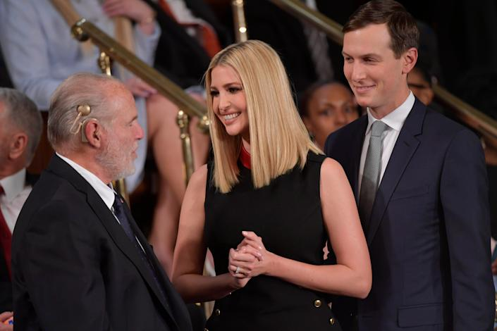 Ivanka Trump, center, and Jared Kushner, are seen before President Donald J. Trump delivers the State of the Union address from the House chamber of the United States Capitol in Washington DC on Feb 4, 2020.