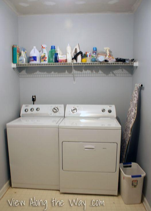 """<p>When this <a href=""""http://www.viewalongtheway.com/2013/01/laundry-room-reveal/"""" rel=""""nofollow noopener"""" target=""""_blank"""" data-ylk=""""slk:blogger"""" class=""""link rapid-noclick-resp"""">blogger</a> moved into hew new home, she knew her laundry room needed a serious storage solution and a flooring fix (because, yuck).</p>"""