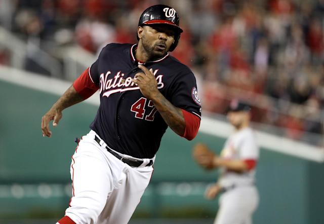 Washington Nationals veteran Howie Kendrick hit three doubles in Game 3 of the NLCS. (Getty Images)
