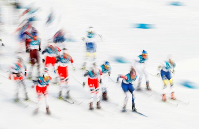 "Cross-Country Skiing - Pyeongchang 2018 Winter Olympics - Women's 7.5km + 7.5km Skiathlon - Alpensia Cross-Country Skiing Centre - Pyeongchang, South Korea - February 10, 2018 - Athletes in action. REUTERS/Kai Pfaffenbach SEARCH ""OLYMPICS BEST"" FOR ALL PICTURES. TPX IMAGES OF THE DAY."