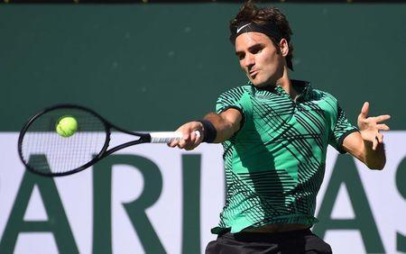 Mar 19, 2017; Indian Wells, CA, USA; Roger Federer (SUI) as he defeated Stan Wawrinka (not pictured) 7-6, 6-4 in the men's final in the BNP Paribas Open at the Indian Wells Tennis Garden. Mandatory Credit: Jayne Kamin-Oncea-USA TODAY Sports