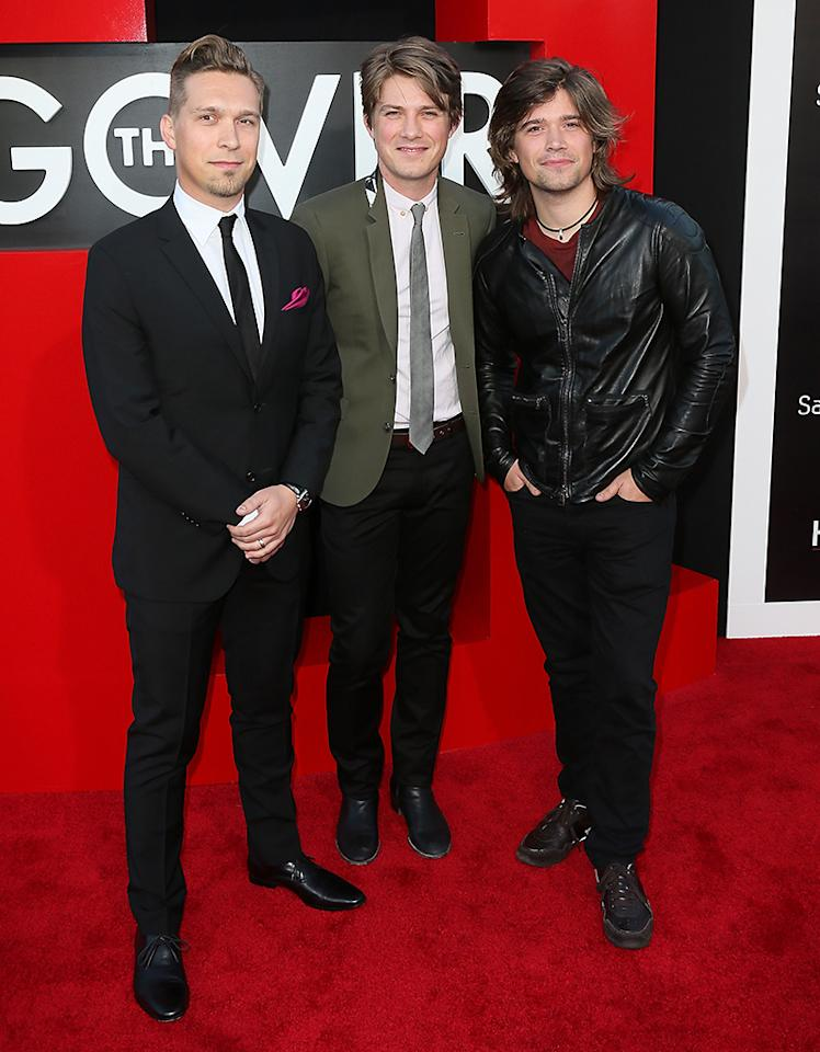 "WESTWOOD, CA - MAY 20:  (L-R) Recording artists/brothers Issac Hanson, Taylor Hanson and Zac Hanson of Hanson attend the premiere of Warner Bros. Pictures' ""Hangover Part III"" at the Westwood Village Theater on May 20, 2013 in Westwood, California.  (Photo by David Livingston/Getty Images)"