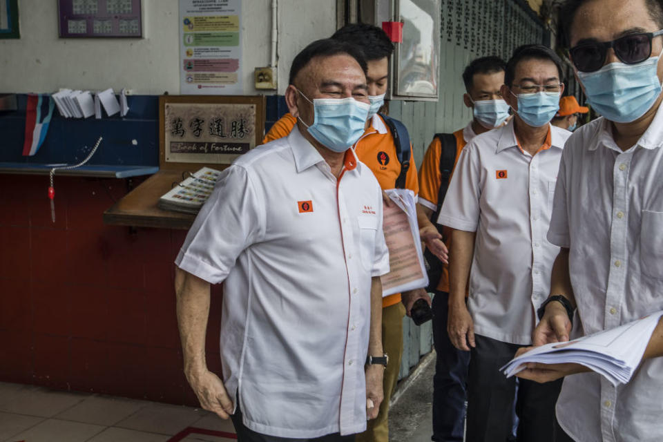 Liberal Democratic Party president Datuk Chin Su Phin conducts a walkabout in Luyang, Sabah September 14, 2020. — Picture by Firdaus Latif