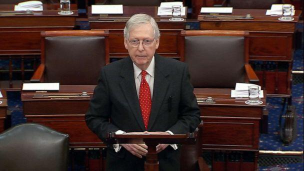 PHOTO: Senate Majority Leader Mitch McConnell speaks on the floor of the Senate, at the opening of the first day of arguments in the impeachment trial of President Donald Trump on Capitol Hill in Washington, D.C., Jan.21, 2020. (ABC News)
