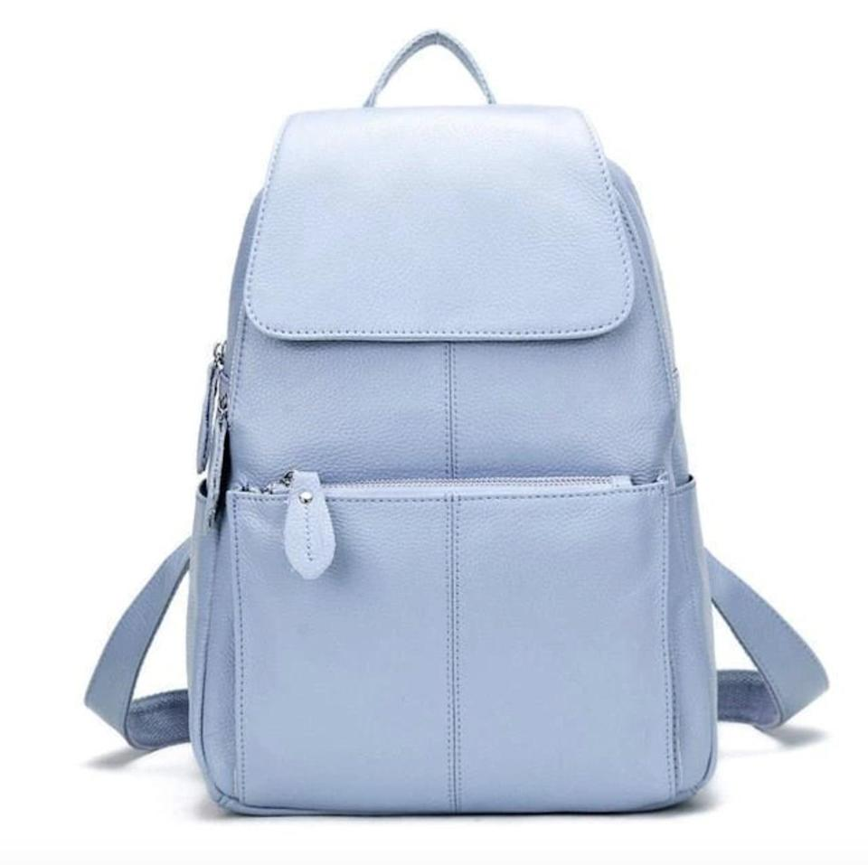<p><span>Elly Exclusive Backpack Blue Leather Backpack</span> ($125, originally $298)</p>
