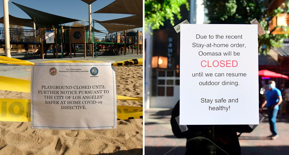 A park is closed by authorities while an LA restaurant sign informs customers it is unable to conduct outdoor dining. Source: Getty