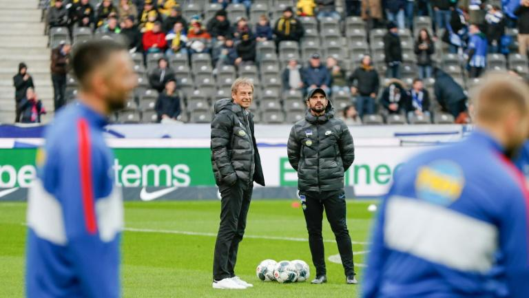 Nouri (centre right) has taken over at Hertha after Klinsmann abruptly quit on Tuesday