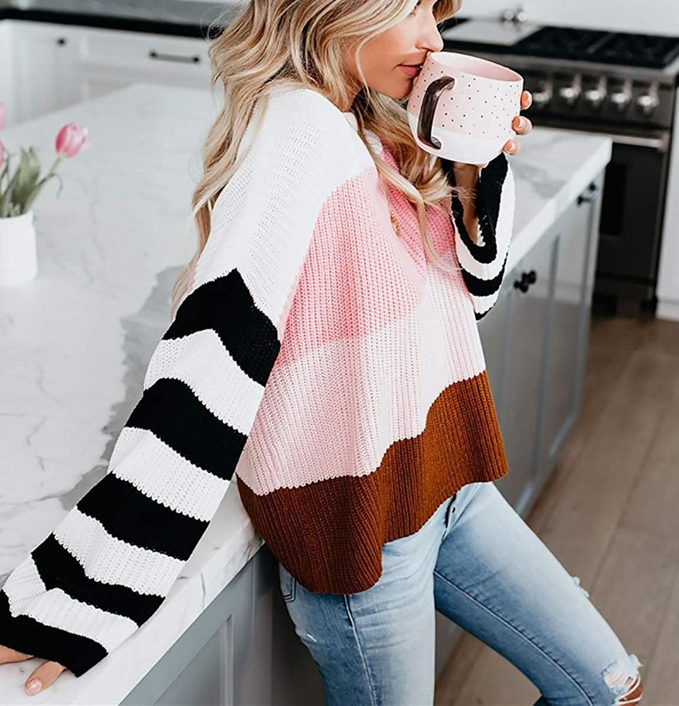 <p>This <span>Cordat Casual Crewneck Colorblock Oversize Sweater</span> ($18) is a bestseller.</p>