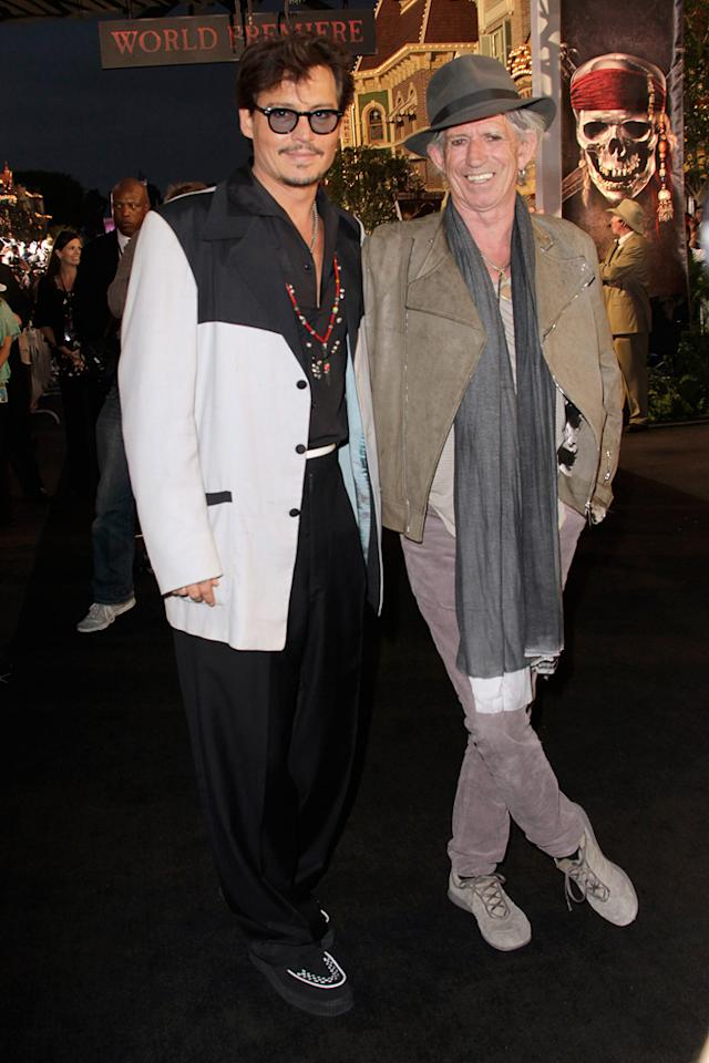 """<a href=""""http://movies.yahoo.com/movie/contributor/1800019485"""">Johnny Depp</a> and <a href=""""http://movies.yahoo.com/movie/contributor/1800047666"""">Keith Richards</a> attend the Disneyland premiere of <a href=""""http://movies.yahoo.com/movie/1809791042/info"""">Pirates of the Caribbean: On Stranger Tides</a> on May 7, 2011."""