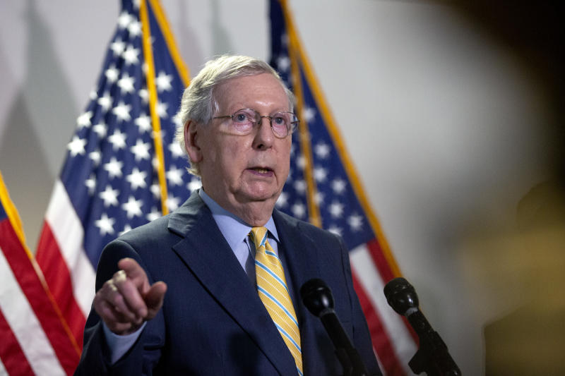WASHINGTON, DC - JUNE 30: Senate Majority Leader Mitch McConnell (R-KY) speaks during a press conference following the weekly Senate Republican policy luncheon in the Hart Senate Office Building on June 30, 2020 in Washington, DC. McConnell stated that a briefing could be arranged for Senators to get more information on the report that Russia offered bounty to the Taliban to kill American soldiers. (Photo by Stefani Reynolds/Getty Images)