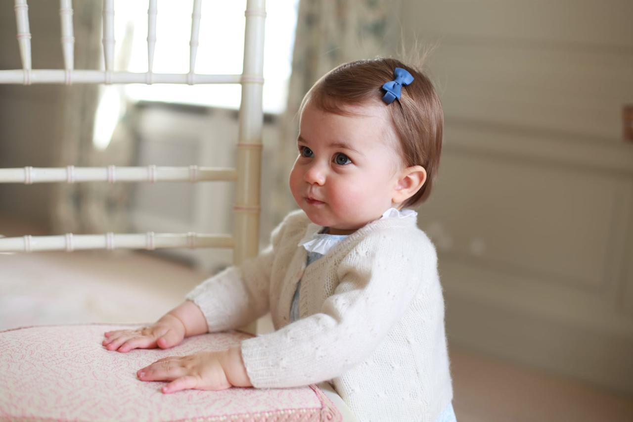 """<p>Kensington Palace released a set of photos in 2016 to commemorate <a href=""""https://www.popsugar.com/celebrity/Prince-George-Princess-Charlotte-First-Birthday-Pictures-41160855"""" class=""""ga-track"""" data-ga-category=""""Related"""" data-ga-label=""""https://www.popsugar.com/celebrity/Prince-George-Princess-Charlotte-First-Birthday-Pictures-41160855"""" data-ga-action=""""In-Line Links"""">Princess Charlotte's first birthday</a>. Eagle-eyed observers noticed that the white sweater she was wearing in the portraits was the same one that her older brother had worn two years earlier.</p>"""