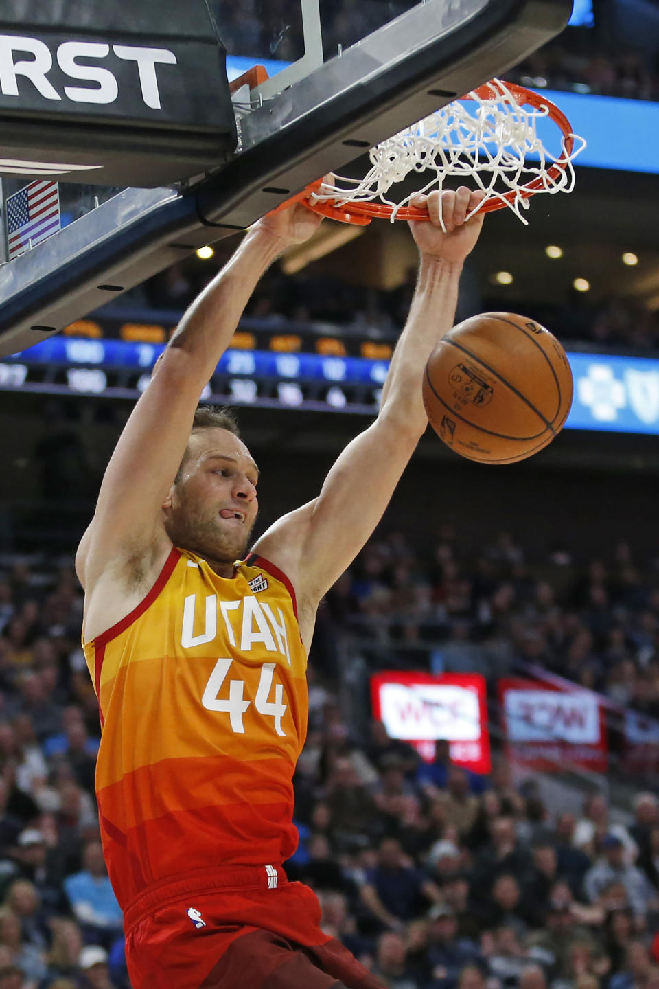 Utah Jazz forward Bojan Bogdanovic (44) dunks against the Indiana Pacers in the second half of an NBA basketball game Monday, Jan. 20, 2020, in Salt Lake City. (AP Photo/Rick Bowmer)
