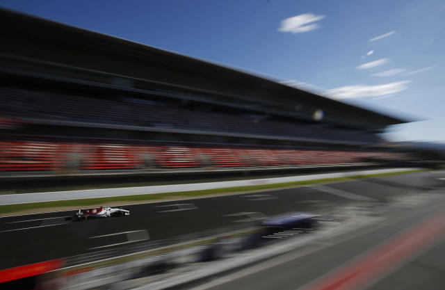 Force India driver Esteban Ocon steers his car during a Formula One pre-season testing session in Montmelo, outside Barcelona, Spain, Wednesday, March 7, 2018. (AP Photo/Manu Fernandez)
