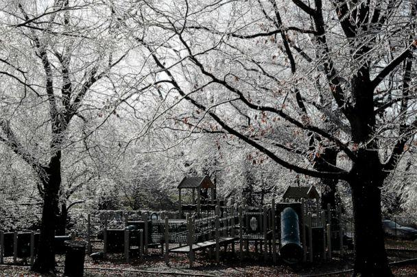 PHOTO: Ice coats a playground and the surrounding trees in Englewood, N.J., Dec. 18, 2019. (Seth Wenig/AP, FILE)