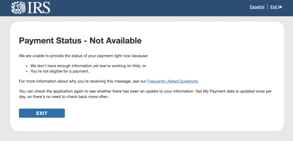 "The 'Get My Payment App' tool shows a ""Payment Status Not Available"" response. Photo: Yahoo Finance"