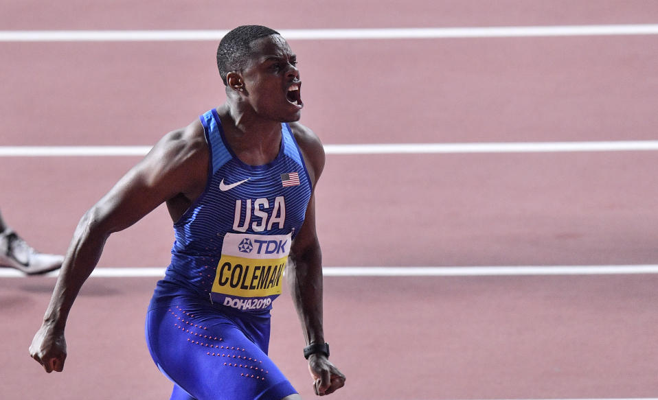 Christian Coleman, of the United States, reacts after winning the men's 100 meter race during the World Athletics Championships in Doha, Qatar, Saturday, Sept. 28, 2019. (AP Photo/Martin Meissner)