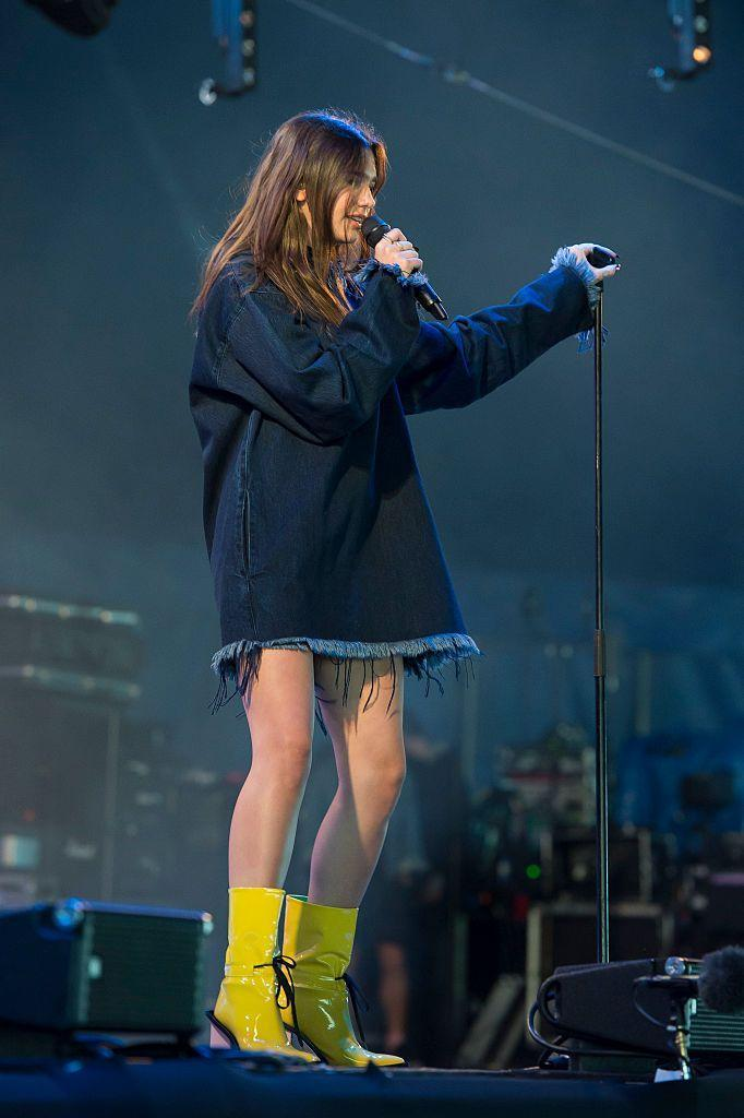 <p>Lipa wore Marques'Almeida to perform at T In The Park.</p>