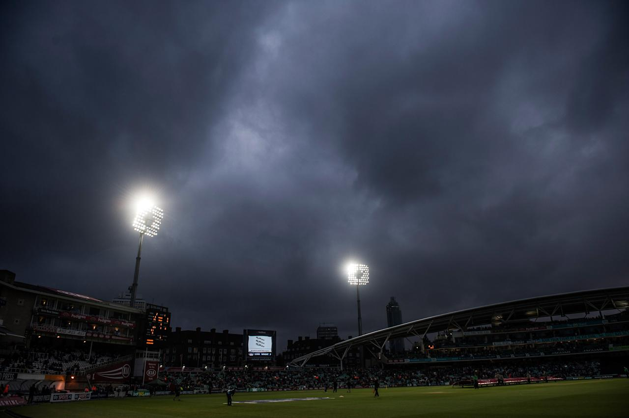 A general view during the rain break of the Natwest International Twenty20 match at the Kia Oval, London.