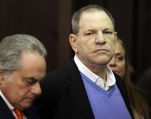 Harvey Weinstein, right, appears at his arraignment with lawyer Benjamin Brafman in Manhattan Criminal Court on May 25. (Jefferson Siegel/New York Daily News via AP, Pool)