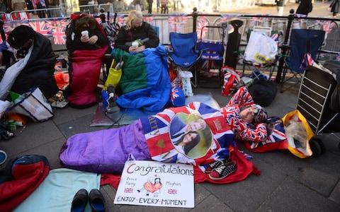 Royal superfans spent the night in sleeping bags - Credit: PAUL GROVER for The Telegraph