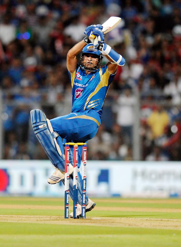 Sachin Tendulkar of Mumbai Indians bats during match 37 of the Pepsi Indian Premier League ( IPL) 2013  between The Mumbai Indians and the Royal Challengers Bangalore held at the Wankhede Stadium in Mumbai on the 27th April 2013. (BCCI)