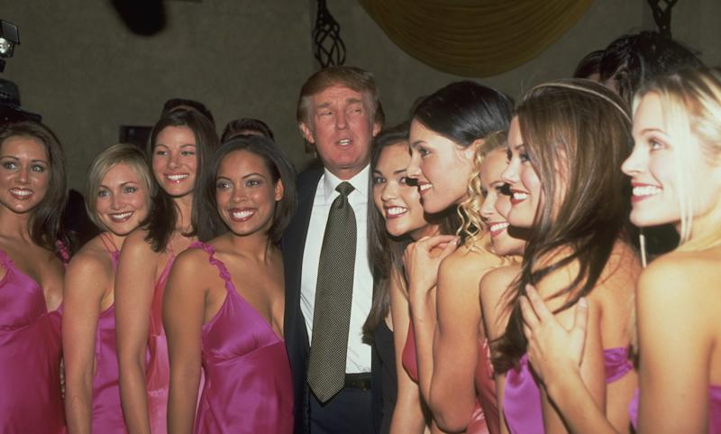 Donald Trump with Miss USA delegates at the 49th Miss USA contest in 2000.