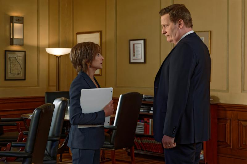 Acting Attorney General Sally Yates (Holly Hunter), left, and FBI Director James Comey (Jeff Daniels) don't always see eye to eye in Showtime's 'The Comey Rule.'