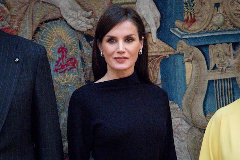 MADRID, SPAIN - FEBRUARY 17: Queen Letizia of Spain attends 'Premios Nacionales De Investigacion' awards 2019 at the El Pardo Palace on February 17, 2020 in Madrid, Spain. (Photo by Paolo Blocco/WireImage)