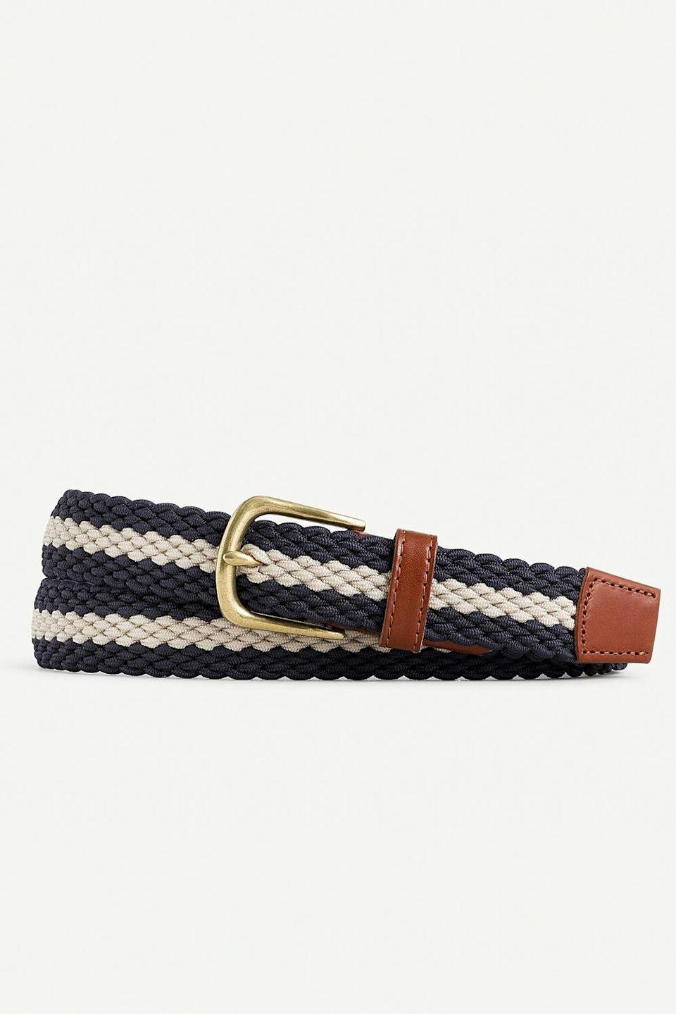 """<p><strong>J.Crew</strong></p><p>jcrew.com</p><p><strong>$49.50</strong></p><p><a href=""""https://go.redirectingat.com?id=74968X1596630&url=https%3A%2F%2Fwww.jcrew.com%2Fp%2FAW347&sref=https%3A%2F%2Fwww.oprahdaily.com%2Flife%2Fg32418397%2Fgifts-for-godfather%2F"""" rel=""""nofollow noopener"""" target=""""_blank"""" data-ylk=""""slk:Shop Now"""" class=""""link rapid-noclick-resp"""">Shop Now</a></p><p>A sharp braided belt will keep your godfather looking fashionable everywhere from the boardroom to the boat. </p>"""