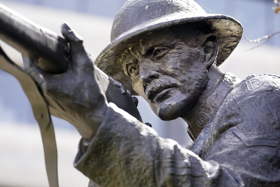 The statue of World War I hero Sgt. Alvin C. York stands on the grounds of the Tennessee State Capitol Tuesday, March 16, 2021, in Nashville, Tenn. The claim in Pennsylvania state Sen. Doug Mastriano's 2014 book about York, that a 1918 U.S. Army Signal Corps photo was mislabeled and actually shows York with three German officers he captured, has been disputed by rival researchers. (AP Photo/Mark Humphrey)