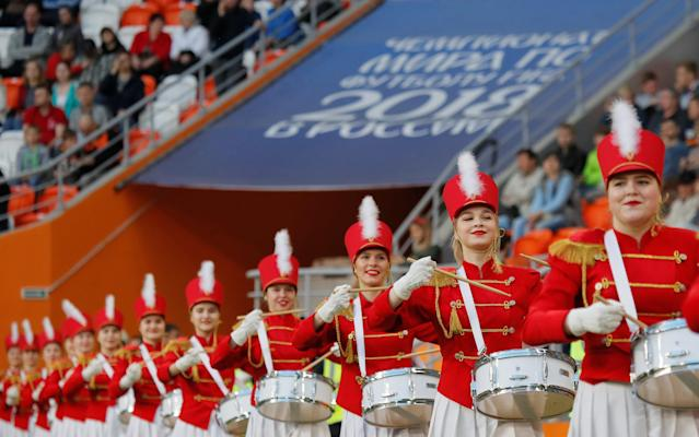 Soccer Football - Russian Professional Football League - Group Ural-Privolzhye - FC Mordovia v FC Kamaz - Mordovia Arena, Saransk, Russia - May 4, 2018. Cheerleaders perform before the game. REUTERS/Maxim Shemetov
